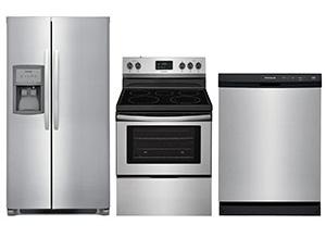 Frigidaire 33 Side-by-Side Refrigerator; Electric Range; Dishwasher Package