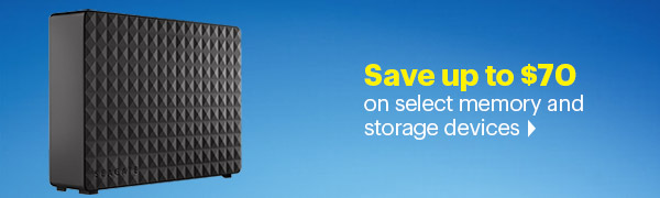 Save up to $100 on select memory and storage devices