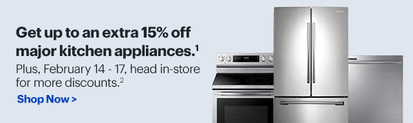 Take up to an extra 15% off when you buy 3 or more major kitchen appliances